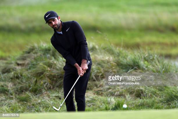 Joel Stalter of France plays his fourth shot on the 11th hole during Day Four of the KLM Open at The Dutch on September 17 2017 in Spijk Netherlands