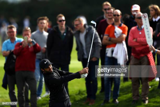 Joel Stalter of France plays his second shot on the 11th hole during Day Four of the KLM Open at The Dutch on September 17 2017 in Spijk Netherlands
