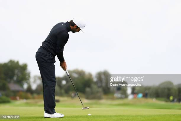 Joel Stalter of France putts on the 3rd green during day 3 of the European Tour KLM Open held at The Dutch on September 16 2017 in Spijk Netherlands