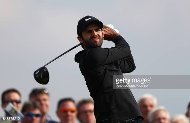 Joel Stalter of France tees off on the 11th hole during Day Four of the KLM Open at The Dutch on September 17 2017 in Spijk Netherlands