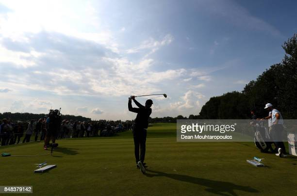 Joel Stalter of France tees off on the 12th hole during Day Four of the KLM Open at The Dutch on September 17 2017 in Spijk Netherlands