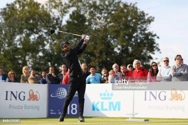 Joel Stalter of France tees off on the 18th hole during Day Four of the KLM Open at The Dutch on September 17 2017 in Spijk Netherlands