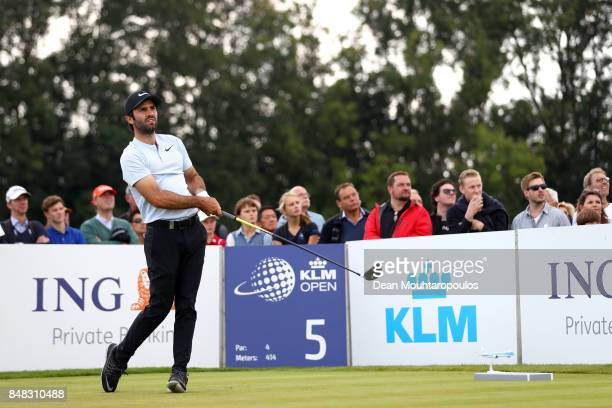 Joel Stalter of France tees off on the 5th hole during Day Four of the KLM Open at The Dutch on September 17 2017 in Spijk Netherlands