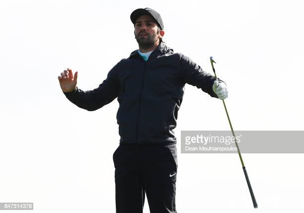 Joel Stalter of France watches his second shot on the 11th hole during day two of the KLM Open at The Dutch on September 15 2017 in Spijk Netherlands