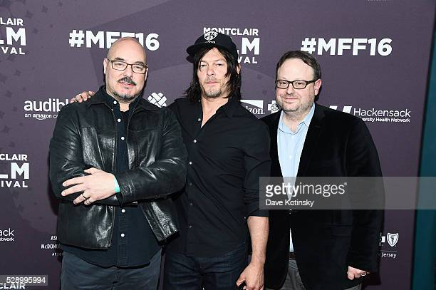 Joel Stillerman Norman Reedus and Executive Director MFF Tom Hall arrive at the Montclair Film Festival 2016 on May 7 2016 in Montclair City