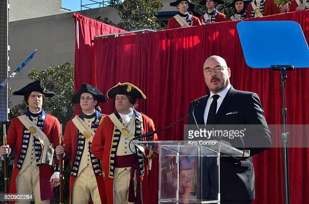 "Joel Stillerman, speaks during the ""TURN: Washington Spies- DC Key Art Unveiling"" at Kogan Plaza on The George Washington University campus on April..."