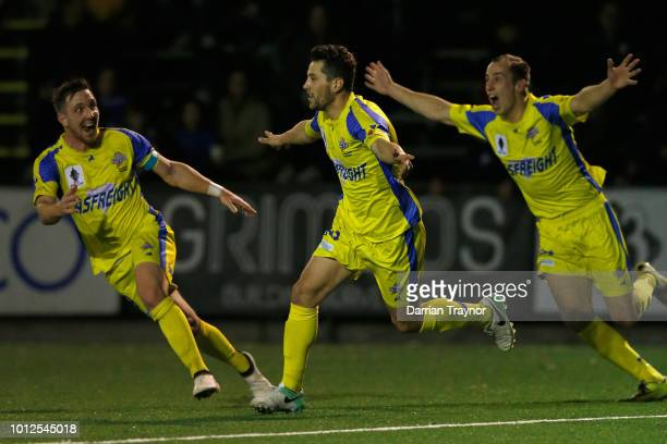 Joel Stone of the Strikers celebrates a goal during the FFA Cup round of 32 match between Northcote City and Devonport City at the Veneto Club on...