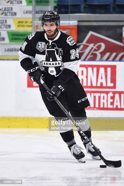 Joel Teasdale of the BlainvilleBoisbriand Armada skates the puck in the warmup prior to the QMJHL game against the Valdu2019Or Foreurs at Centre...