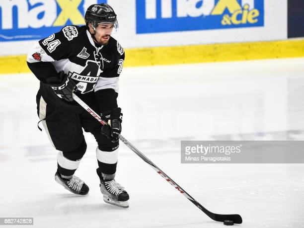 Joel Teasdale of the BlainvilleBoisbriand Armada skates the puck against the BaieComeau Drakkar during the QMJHL game at Centre d'Excellence Sports...