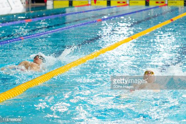 Joel Thompson and Michael Rees in action during the men's transition 400 metres individual medley final during Day 3 of the 2019 British Swimming...