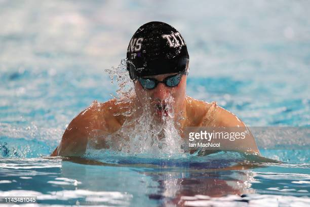 Joel Thompson of Ellesmere competes in the eats of the Men's 400m IM during day three of the British Swimming Championships at Tollcross...