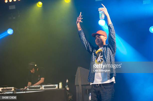 Joel Tiddy performs in character as Weapon X of Kurupt FM from the hit BBC British Garage music Comedy The people just do nothing onstage during Day...