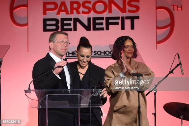 Joel Towers, Donna Karan and Rihanna speak on stage during the 69th Annual Parsons Benefit at Pier 60 on May 22, 2017 in New York City.