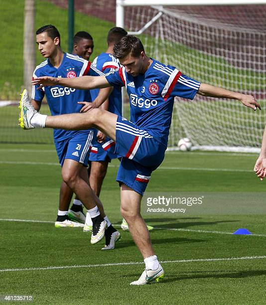 Joel Veltman of AFC Ajax attends the team's training session at Aspire Sport Academy in Doha Qatar on January 92015 before the friendly match against...