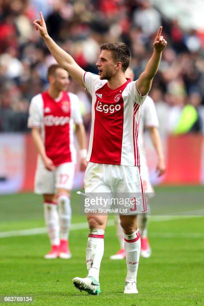 Joel Veltman of AFC Ajax celebrates at fulltime following the Eredivisie match between AFC Ajax and Feyenoord at Amsterdam Arena on April 2 2017 in...
