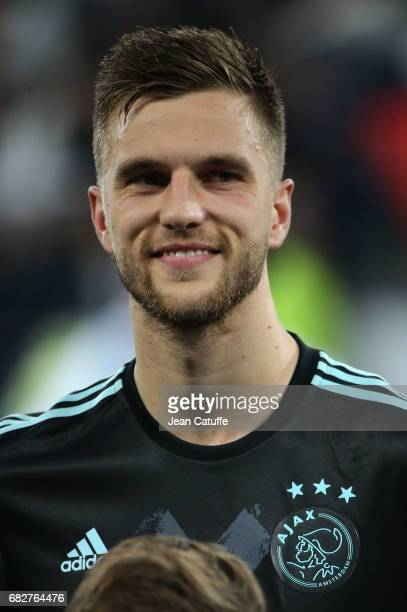 Joel Veltman of Ajax Amsterdam looks on before the UEFA Europa League semi final second leg match between Olympique Lyonnais and Ajax Amsterdam at...