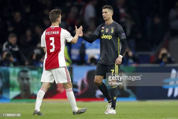 Joel Veltman of Ajax Cristiano Ronaldo of Juventus FC during the UEFA Champions League quarter final match Ajax Amsterdam and Juventus FC at the...