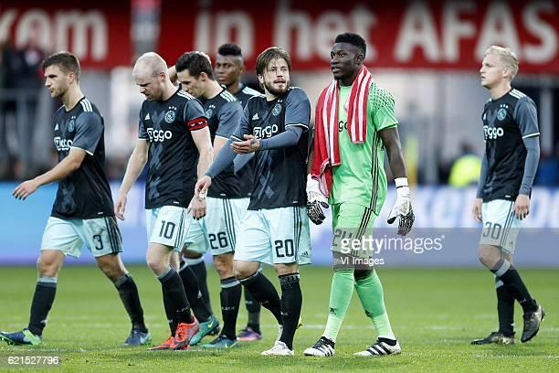 Joel Veltman of Ajax Davy Klaassen of Ajax Lasse Schone of Ajax Andre Onana of Ajax Donny van de Beek of Ajaxduring the Dutch Eredivisie match...