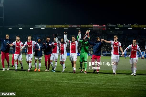 Joel Veltman of Ajax Donny van de Beek of Ajax David Neres of Ajax Hakim Ziyech of Ajax Justin Kluivert of Ajax Klaas Jan Huntelaar of Ajax...