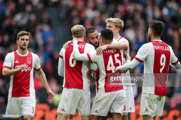 Joel Veltman of Ajax Donny van de Beek of Ajax Hakim Ziyech of Ajax Justin Kluivert of Ajax Rasmus Kristensen of Ajax Klaas Jan Huntelaar of Ajax...