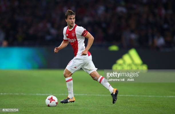 Joel Veltman of Ajax during the UEFA Champions League Qualifying Third Round match between Ajax and OSC Nice at Amsterdam Arena on August 2 2017 in...