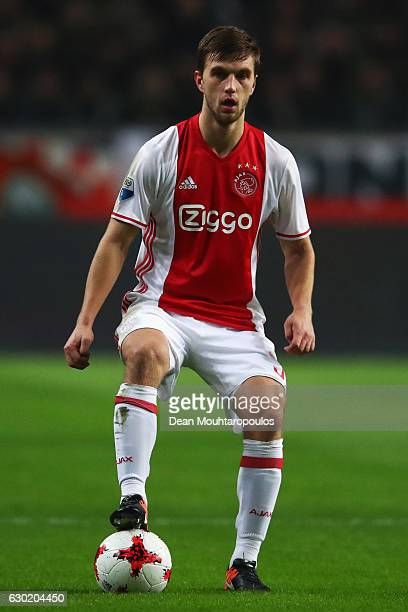 Joel Veltman of Ajax in action during the Eredivisie match between Ajax Amsterdam and PSV Eindhoven held at Amsterdam Arena on December 18 2016 in...