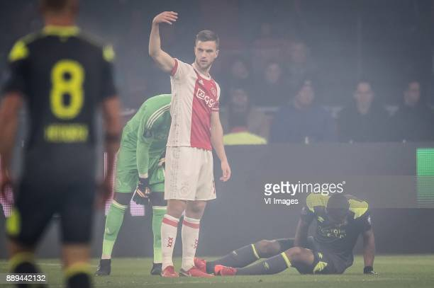 Joel Veltman of Ajax Jurgen Locadia of PSV during the Dutch Eredivisie match between Ajax Amsterdam and PSV Eindhoven at the Amsterdam Arena on...