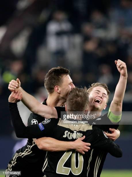 Joel Veltman of Ajax Lasse Schone of Ajax Matthijs de Ligt of Ajax celebrates the victory during the UEFA Champions League match between Juventus v...