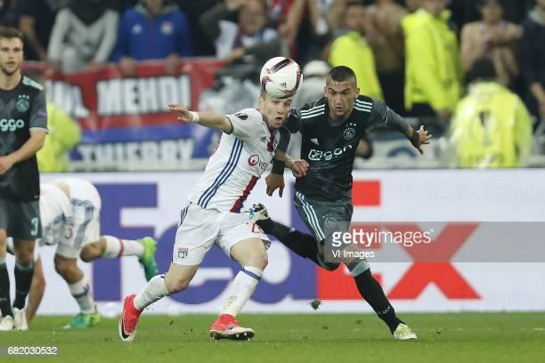 Joel Veltman of Ajax Mathieu Valbuena of Olympique Lyonnais Hakim Ziyech of Ajaxduring the UEFA Europa League semi final match between Olympique...