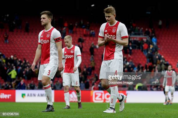 Joel Veltman of Ajax Matthijs de Ligt of Ajax during the Dutch Eredivisie match between Ajax v ADO Den Haag at the Johan Cruijff Arena on February 25...