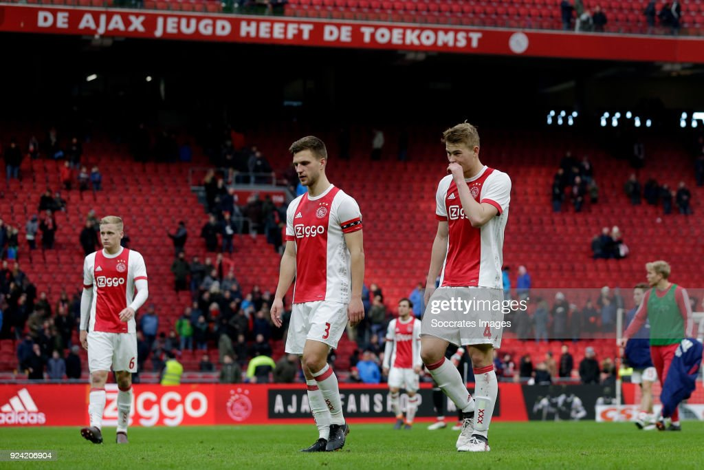 Joel Veltman of Ajax, Matthijs de Ligt of Ajax during the Dutch Eredivisie match between Ajax v ADO Den Haag at the Johan Cruijff Arena on February 25, 2018 in Amsterdam Netherlands