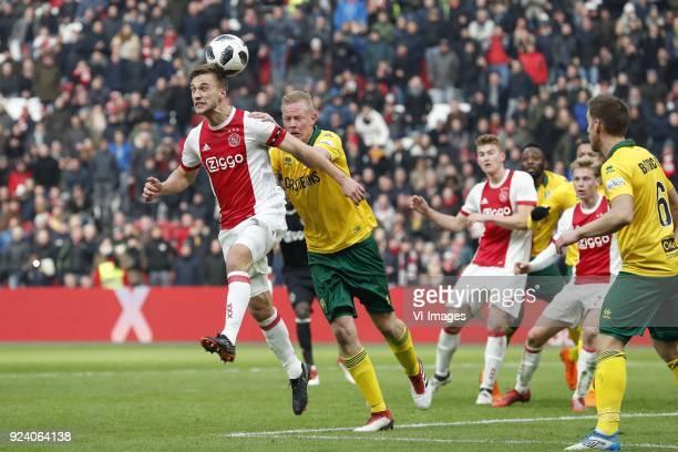 Joel Veltman of Ajax Tom Beugelsdijk of ADO Den Haag Matthijs de Ligt of Ajax Wilfried Kanon of ADO Den Haag Frenkie de Jong of Ajax Donny Gorter of...