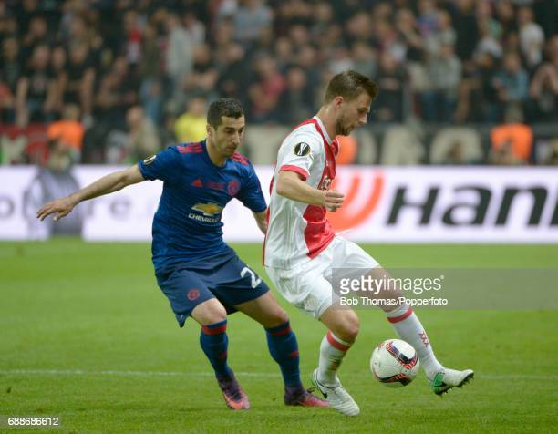 Joel Veltman of Ajax with Henrikh Mkhitaryan of Manchester United during the UEFA Europa League final between Ajax and Manchester United at the...