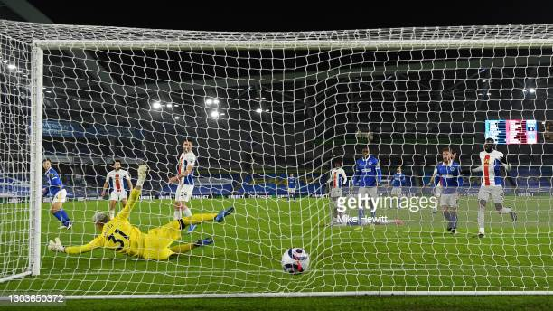 Joel Veltman of Brighton & Hove Albion scores his team's only goal during the Premier League match between Brighton & Hove Albion and Crystal Palace...