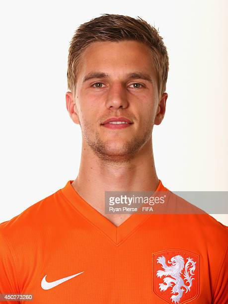 Joel Veltman of Netherlands poses during the official FIFA World Cup 2014 portrait session on June 7 2014 in Rio de Janeiro Brazil
