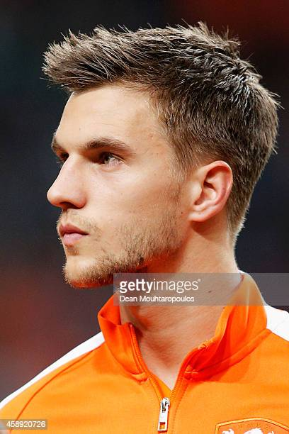 Joel Veltman of Netherlands stands for the national anthems prior to the international friendly match between Netherlands and Mexico held at the...
