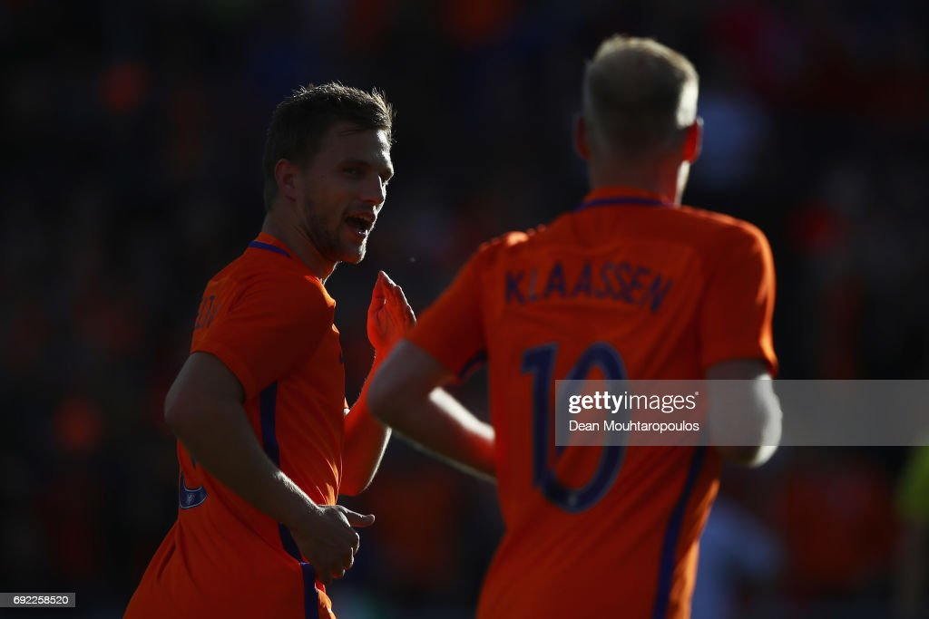 Joel Veltman of the Netherlands celebrates scoring his teams first goal of the game during the International Friendly match between the Netherlands and Ivory Coast held at De Kuip or Stadion Feijenoord on June 4, 2017 in Rotterdam, Netherlands.