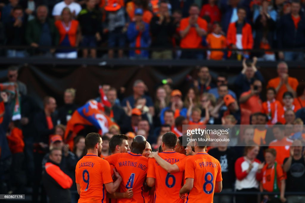 Joel Veltman of the Netherlands celebrates scoring his teams third goal of the game with team mates during the International Friendly match between the Netherlands and Ivory Coast held at De Kuip or Stadion Feijenoord on June 4, 2017 in Rotterdam, Netherlands.