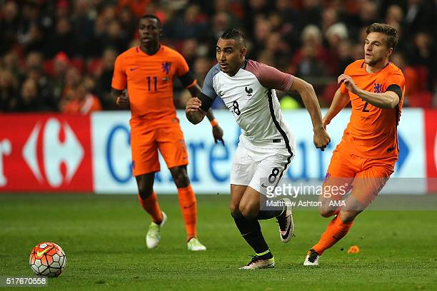 Joel Veltman of the Netherlands competes with Dimitri Payet of France during the International Friendly match between Netherlands and France at...