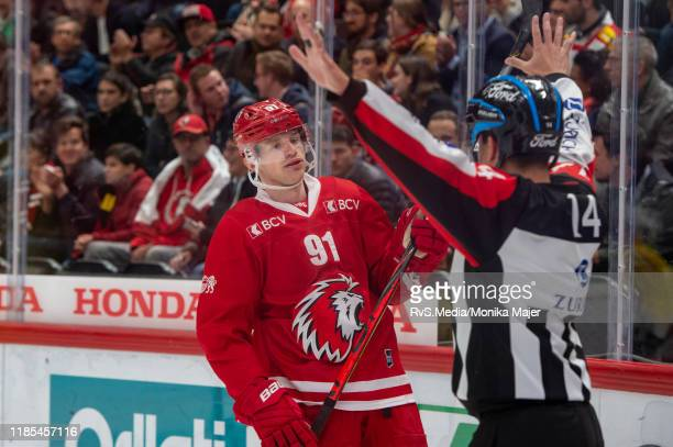 Joel Vermin of Lausanne HC reacts during the Swiss National League game between Lausanne HC and SC Bern at Vaudoise Arena on November 1, 2019 in...