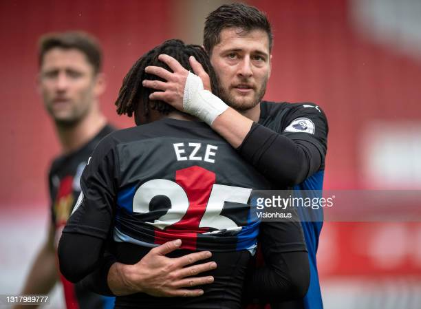 Joel Ward and Eberechi Eze of Crystal Palace embrace after Eze scores the second goal during the Premier League match between Sheffield United and...