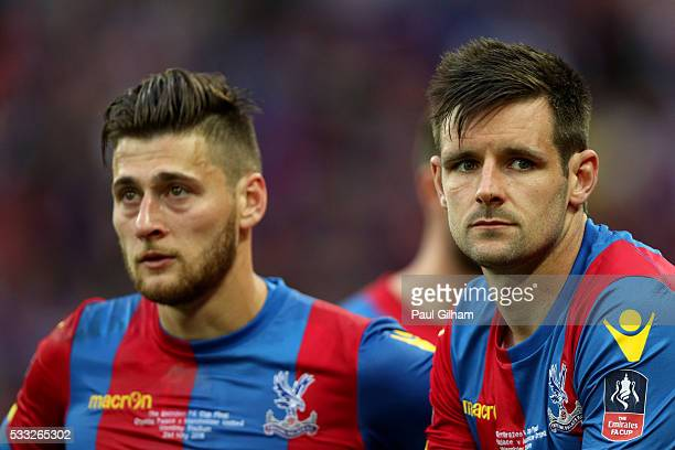 Joel Ward and Scott Dann of Crystal Palace look dejected in defeat after The Emirates FA Cup Final match between Manchester United and Crystal Palace...