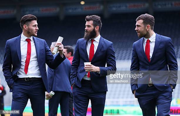 Joel Ward Joe Ledley and James McArthur of Crystal Palace are seen on arrival at the stadium prior to the Barclays Premier League match between...