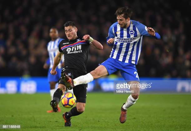 Joel Ward of Crystal Palace and Davy Propper of Brighton and Hove Albion in action during the Premier League match between Brighton and Hove Albion...