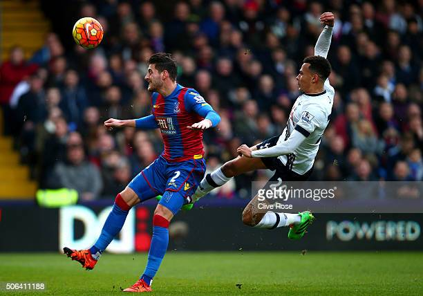 Joel Ward of Crystal Palace and Dele Alli of Tottenham Hotspur compete for the ball during the Barclays Premier League match between Crystal Palace...