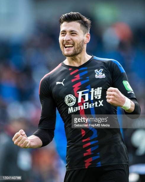 Joel Ward of Crystal Palace celebrates during the Premier League match between Brighton Hove Albion and Crystal Palace at American Express Community...