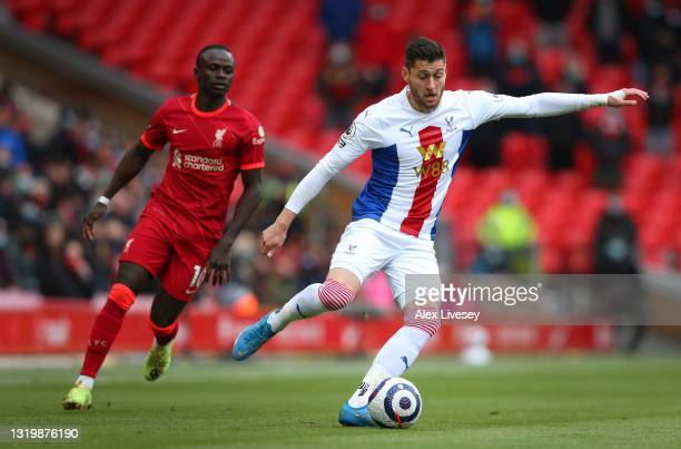 Joel Ward of Crystal Palace during the Premier League match between Liverpool and Crystal Palace at Anfield on May 23, 2021 in Liverpool, England.