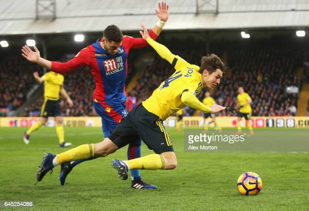 Joel Ward of Crystal Palace fouls Marten de Roon of Middlesbrough during the Premier League match between Crystal Palace and Middlesbrough at...