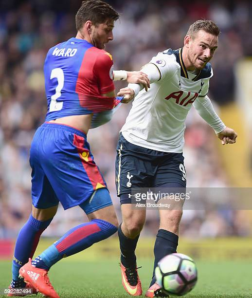 Joel Ward of Crystal Palace pulls Vincent Janssen of Tottenham Hotspur shirt during the Premier League match between Tottenham Hotspur and Crystal...
