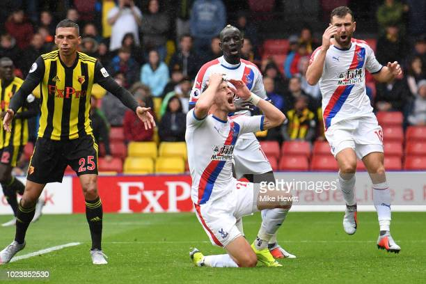 Joel Ward of Crystal Palace reacts during the Premier League match between Watford FC and Crystal Palace at Vicarage Road on August 26 2018 in...